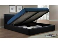 Decore Your Dreams-Leather Ottoman Storage Bed Frame in Black Brown and White Color