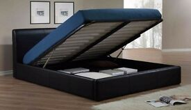 FLAT 70% OFF NOW== NEW! DOUBLE LEATHER STORAGE GAS LIFT UP BED FRAME WITH FOAM MATTRESS