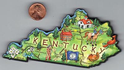 KENTUCKY  KY  ARTWOOD STATE MAP JUMBO MAGNET  FRANKFORT LEXINGTON LOUISVILLE