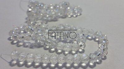 Glasperlen Perlen klar transparent  facettiert 6 x 4 mm 95 Stück Schmuck  R279 ()