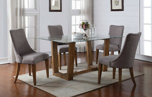 Capri Glass Top/Wood Dining Table & Chairs