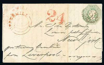 1 shilling green on cover, the stamp is cut to shape