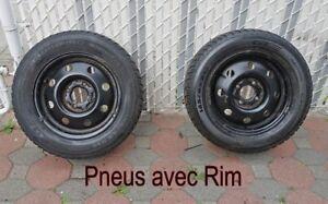 Deux pneus sur jantes, 4 saisons 185/65 14  (Usure 30 %)