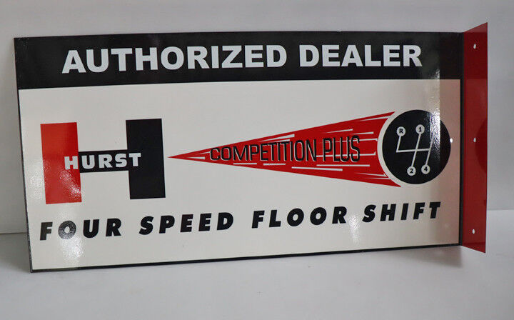 HURST 4 SPEED SHIFTER Flange Sign AUTO CAR HOT ROD   Gas Oil  Modern Retro