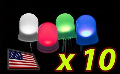 10x 10mm Rgb Led Diffused Lens Common Cathode - Large