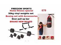 punchbag, upper body chin up bar, gloves , bracket and 50kg vinyl weights