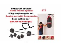 punchbag, upper body chin up bar, gloves , bracket and 50kg vinyl weights