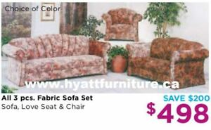 Brand new All 3 pcs Fabric Sofa Set only $498