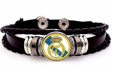 Real Madrid Mens Womens Soccer Leather Team Adjustable Bracelet + Gift Pkg - Soccer Team Gifts