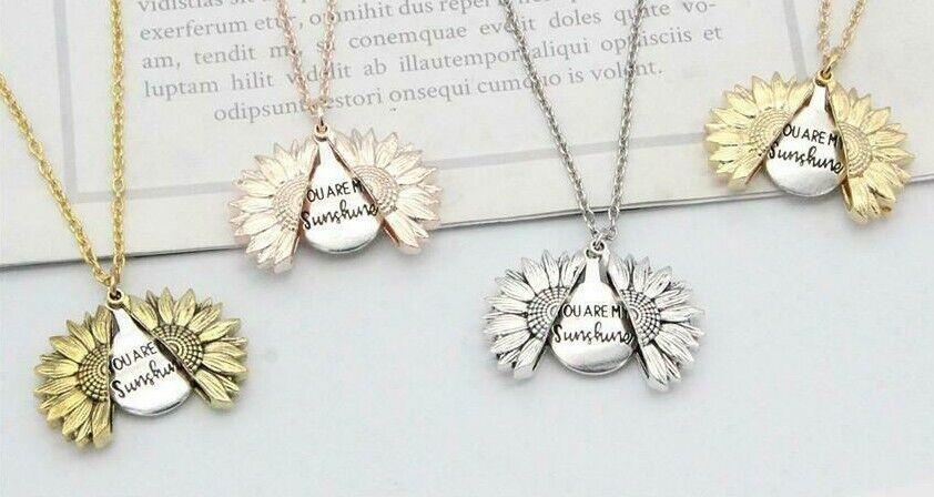 "Jewellery - Boho ""You Are My Sunshine"" Sunflower Locket Pendant Womans Necklace Jewelry Gift"