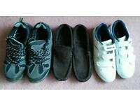 Mixed 3 pairs of Boys; trainers, walking boots and slippers size 8