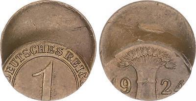 Weimar 1 Reichspfennig 1924 60 % dezentriert Fehlprägung, vz-st