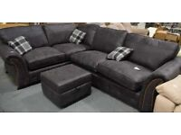 Leather sofa bed corner and puffee