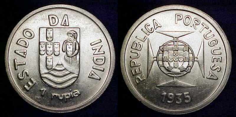 INDIA- PORTUGUESE 1935 Silver 1 Rupia Ch BU ***