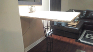 Live edge bar table top and with custom metal pedistal stand.