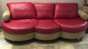 Custom leather red & beige sofa and chair