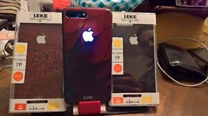 Iphone 6/6s 7/7plus apple logo glowing cases and glass protector