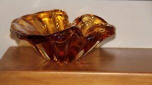 Vintage Amber Art Glass
