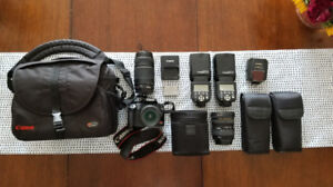 Canon Rebel XS Package + 3 Lenses + 2 Flashes + Camera Bag