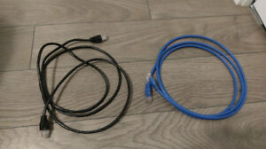 2 Cables Ethernet 6 Pieds Neuf