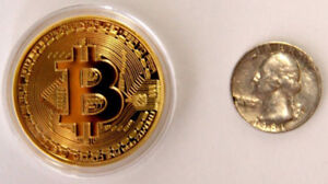 Minted Bitcoins - 1oz gold-plated coins