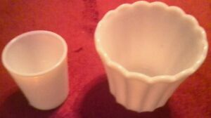 Milk Glass Cup and Vase