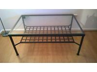 IKEA Metal and glass coffee table, good condition. 118cm (L) x 78 cm (W) 49cm (H).