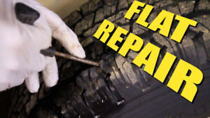 TIRE FLAT REPAIR SERVICE PLUG, PATCH, RIM CLEAN