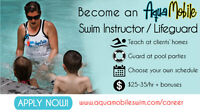 Become an AQUAMOBILE Swim Instructor / Lifeguard $25-33/hr