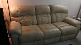 3 seater cream leather recliner sofa