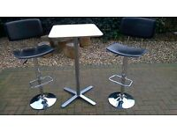 Nice Black/White and Chrome Bar Stools/Chair and Table
