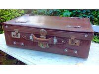 Vintage suitcase faux crocodile leather