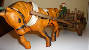 CAST IRON HORSE DRAWN BEER WAGON
