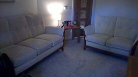 3 & 2 seater sofa in cream fabric