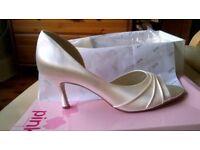 Pink By Paradox Ivory Satin Wedding Bridal shoes - Sherbert 7