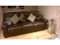 reids 3 seater + 2 seater sofa brown leather