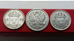 3 small silver coins from Sweden and Finland