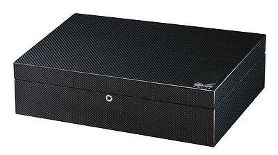 Volta Black Carbon Fiber Finish 10 Watch Box Case Storage Chest 10 Watches