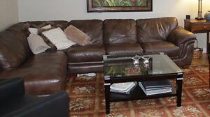 Brown Leather Sectional - La-z-boy
