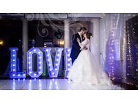 BEAUTIFUL LED LIGHT UP LOVE LETTERS FROM £65 PERFECT FOR WEDDING HIRE