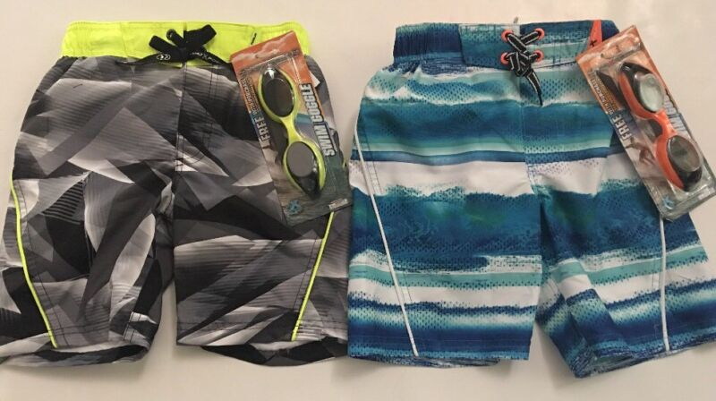 Zeroxposur Boys Beach Swim Trunks Shorts Goggles Set Size 4 5 6 7 Blue Black