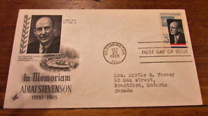 1965 Adlai Stevenson in Memoriam 5 Cent First Day Cover Kitchener / Waterloo Kitchener Area image 1