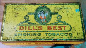 1940s J G Dill Co DILL'S BEST SLICED Smoking TOBACCO TIN VA USA