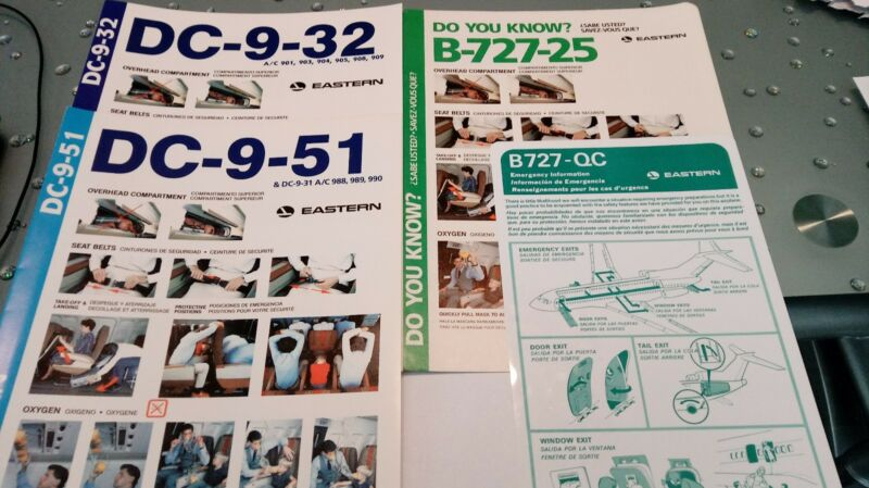 Vintage Eastern airlines aircraft emergency exit briefing cards.