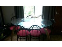 stunning dining table with 6 bistro chairs