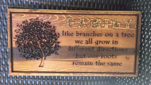 """""""Family"""" Beautiful Carved Wooden Sign"""