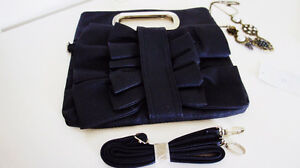Brand New Fashion Faux Leather Bow Clutch Sling Bag Purse