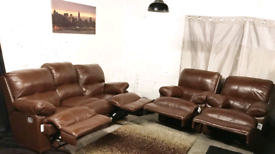 , New ex display real leather brown recliners 3 seater sofa and 2 chai