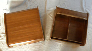 two teak storage boxes