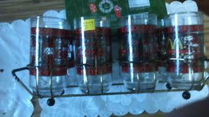 8 coke glasses and caring rack